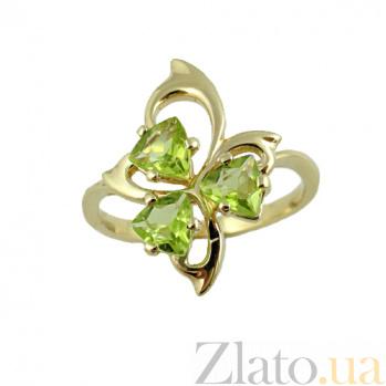 Золотое кольцо в жёлтом цвете с перидотами Аркадия ZMX--RPd-6617y_K