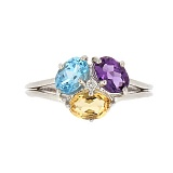 Серебряное кольцо Цветущее трио с аметистом, цитрином и голубым бриллиантом