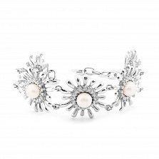 Серебряный браслет Саломея с жемчугом и фианитами