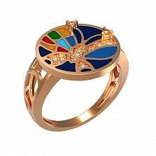 Кольцо в красном золоте Эмоции с эмалью и фианитами