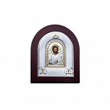 Серебряная икона Иисуса Христа с позолотой и фианитами