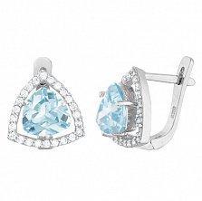 Серебряные серьги Лагуна с голубыми и белыми фианитами