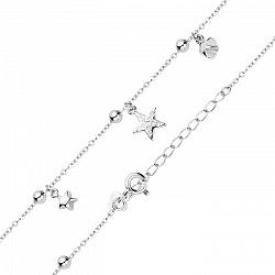 Серебряный браслет с подвесками-звездами и фианитами в якорном плетении 000122376