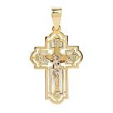 Золотой крест со вставками перламутра и циркония Благословение