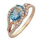 Золотое кольцо Дианис с топазом Лондон и фианитами