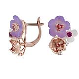 Золотые серьги с перламутром, рубинами, топазами и бриллиантами Романтика