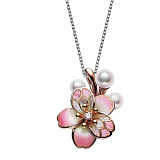 Кулон из розового золота Baruch Сакура с бриллиантом, жемчугом и эмалью
