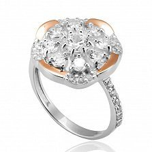 Серебряное кольцо Глафира с золотой вставкой и фианитами