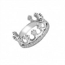 Серебряное кольцо Королевский знак с фианитами