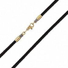 Тканевый плетеный шнурок Оберег с серебряной черненой застежкой в евро позолоте