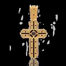 Золотой крест Сказка с бриллиантами, изумрудами и эмалью