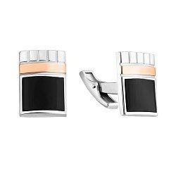 Серебряные запонки с золотыми накладками и черным ониксом 000116036
