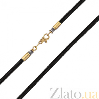 Тканевый плетеный шнурок Оберег с серебряной черненой застежкой в евро позолоте HUF--5525/3-ЗФ евро