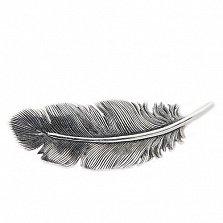Серебряная брошка Перышко