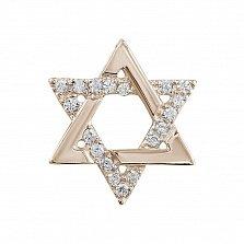 Подвес из красного золота Звезда Давида с бриллиантами