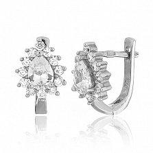 Серьги из серебра с фианитами Пенелопа