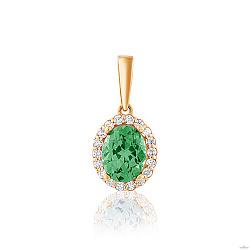 Золотой кулон Альда с нановерделитом (зеленым турмалином) и фианитами 000053351