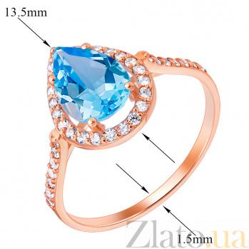 Золотое кольцо Виктория с голубым топазом и фианитами EDM--КД4030ТОПАЗ