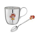 Серебряный столовый набор Львенок из чайной ложки и чашки 100мл