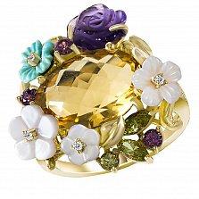 Золотое кольцо Прелесть с цитрином, аметистом, родолитом, хризолитом, бриллиантами и перламутром