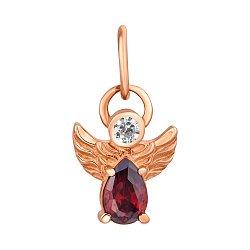 Кулон в красном золоте Ангелок с гранатовым и белым фианитами 000117058