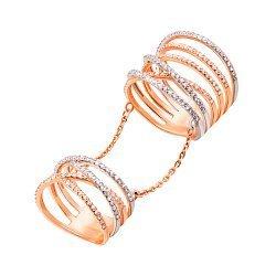 Золотое кольцо на две фаланги Анжелина в комбинированном цвете с цепочками и дорожками фианитов
