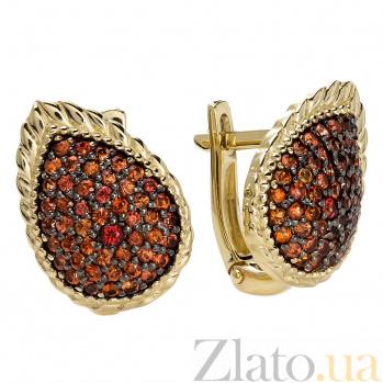 Золотые серьги с красными сапфирами Ясмин 000030215