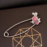 Серебряная булавка Пчелка с розовой эмалью