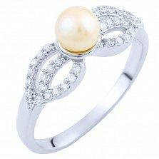 Кольцо из серебра Фиделма с жемчугом и фианитами