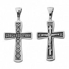 Крестик из серебра с чернением Возрождение