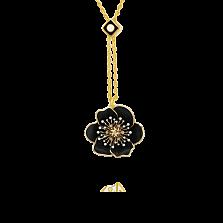 Золотой кулон Цвет ночи с бриллиантами и черной и белой эмалью