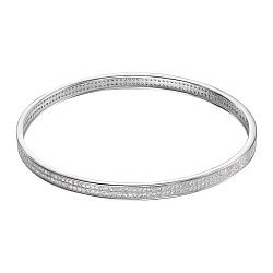 Серебряный жесткий браслет с фианитами 000135684