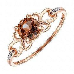 Кольцо из красного золота с раухтопазом и фианитами 000135560