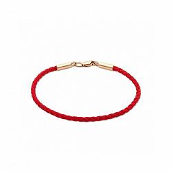 Красный шелковый браслет Матиас с позолоченной серебряной застежкой, 2 мм