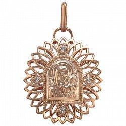 Ладанка в красном золоте Святое семейство с фианитами 000046279