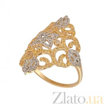 Кольцо из желтого и белого золота Кружево с фианитами VLT--ТТТ1177