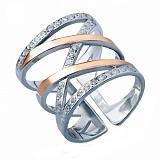 Серебряное кольцо с золотой вставкой Эксклюзив