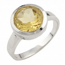 Серебряное кольцо Малика с цитрином
