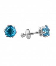 Серебряные серьги-пуссеты Лея с голубым кварцем