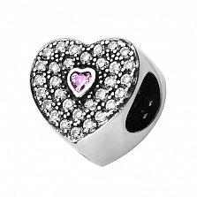 Двусторонний серебряный шарм Два сердца с нежно-розовыми и белыми фианитами
