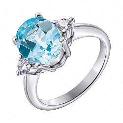 Серебряное кольцо с голубым топазом и фианитами 000117877