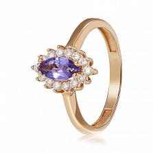 Золотое кольцо с аметистом и фианитами Рейчел