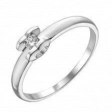 Помолвочное кольцо из белого золота с бриллиантом и родированием 000131445