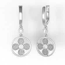 Серебряные серьги-подвески Притягательность с фианитами в стиле Луи Виттон