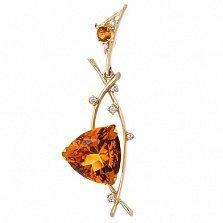 Золотой подвес Осенний бал в евро цвете с цитринами и бриллиантами