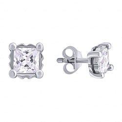 Серебряные серьги-пуссеты с цирконием Princess