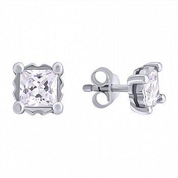 Серебряные серьги-пуссеты с цирконием Princess 000022439