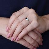 Золотое кольцо Молия с лондон топазом и фианитами