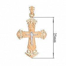 Нательный золотой крест с фианитами Посланник небес