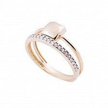 Золотое кольцо Садрин в желтом цвете с дорожкой белых фианитов и двойной шинкой